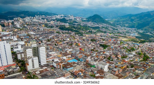 Beautiful high angle view of Manizales city in Colombia coffee zone, South America
