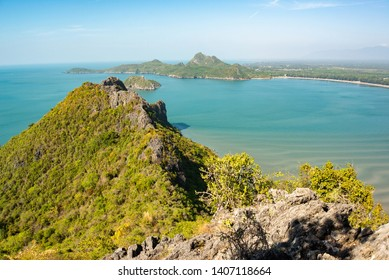 Beautiful high angle view separate sea and sea sky background from the mountain at Khao Lom Muak, Prachuap Khiri Khan District, Thailand,Climbing Khao Lommuak to see bay on 360 eye view .