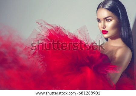 Beautiful High Fashion Woman Red Dress Stock Photo Edit Now