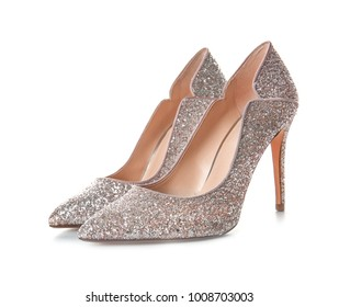 Beautiful high heeled shoes on white background