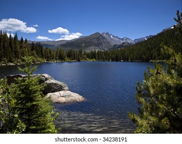 Beautiful High Mountain Lake with Trees and Clouds