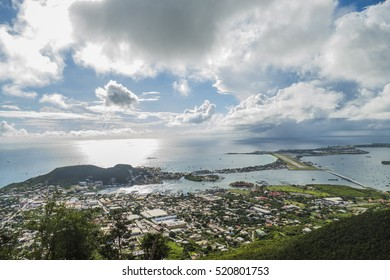 Beautiful high point view of  the Caribbean island of St.Maarten.