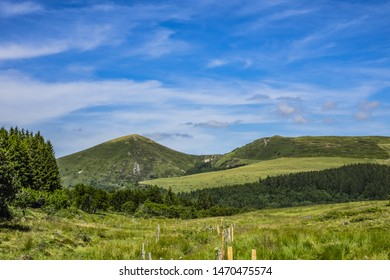 Beautiful highland landscapes in Volcans d'Auvergne regional Natural Park. Monts Dore - the heart of the Massif Central, Auvergne-Rhone-Alpes administrative region, France.
