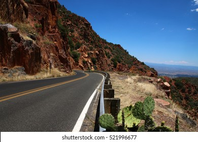 Beautiful Highway Arizona on the mountain with traffic line cactus road view and city view