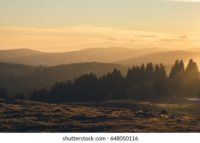 A beautiful hike at sunset in creux du van jura switzerland a view of french alps from jura