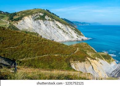 Beautiful hiking path in Spain. Camino Norte between Zumaia and Deba. Amazing green nature, hills and ocean.