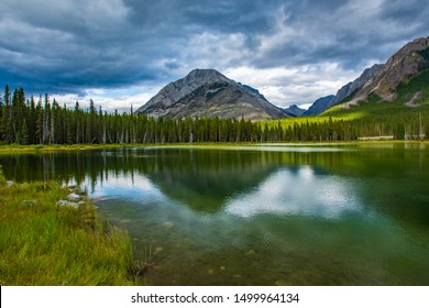 Beautiful hiking scenery of backcounty mountain lakes in the Kananskis Lakes region of Peter Lougheed Provincial Park, near Banff National Park in the Canadian Rocky Mountains.