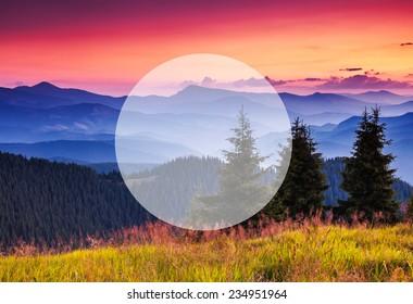 Beautiful hills glowing by sunlight at twilight. Dramatic scene. Carpathian, Ukraine, Europe. Beauty world. Creative design. Write your text. Retro style, vintage filter. Instagram toning effect.