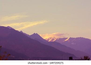 beautiful Himalayas evening with sunset