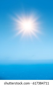 Beautiful hi-res blue sky sunrays and sea background