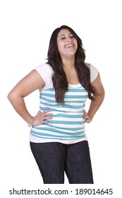 Beautiful  Hispanic Girl Standing Up on an Isolated Background
