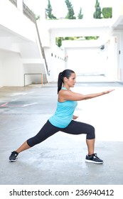 Beautiful hispanic sport woman demonstrating tai chi stance  'parting horse mane', outdoor. Concept of healthy lifestyle.