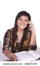 Beautiful Hispanic Teenager Girl Talking on the Phone
