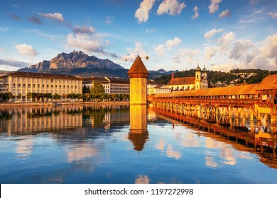 Beautiful historic city center of Lucerne with famous Chapel Bridge and lake Lucerne (Vierwaldstattersee), Canton of Lucerne, Switzerland