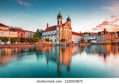 Beautiful historic city center of Lucerne with famous buildings and lake Lucerne (Vierwaldstattersee), Canton of Lucerne, Switzerland