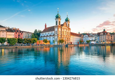 Beautiful historic city center of Lucerne city with famous buildings and lake Lucerne (Vierwaldstattersee), Switzerland