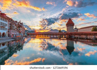 Beautiful historic city center view of Lucerne with famous Chapel Bridge and lake Lucerne (Vierwaldstattersee), Canton of Lucerne, Switzerland