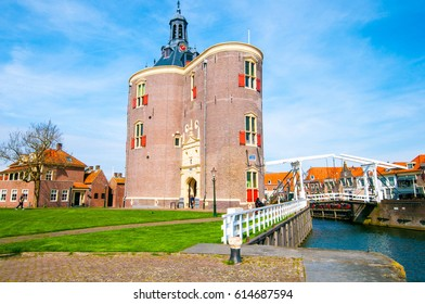 The beautiful historic city of Enkhuizen in North Holland with the unique monument Drommedaris.