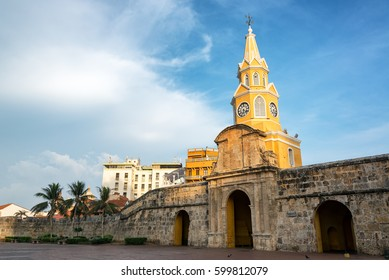Beautiful historic Clock Tower Gate in the historic colonial city center in Cartagena, Colombia