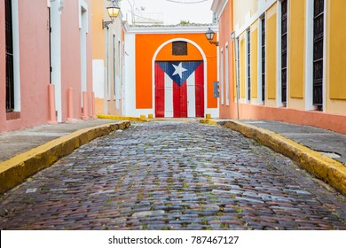 A beautiful and historic cobblestone street in the Old San Juan, Puerto Rico