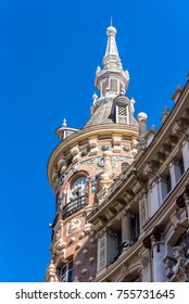 Beautiful historical building of old architecture in the city center, Madrid, Spain. Copy space for text. Vertical.