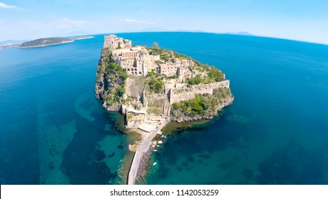 Beautiful historical monument in Ischia, castle on volcanic island, aerial view