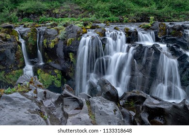 Beautiful Hlaupatungufoss in Iceland with motion blurred water