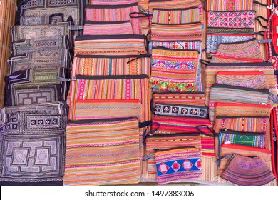 Beautiful Hmong traditional handmade colorful souvenir of minority ethnic