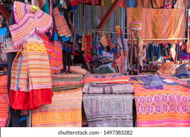 Beautiful Hmong traditional handmade colorful clothes and souvenir of minority ethnic