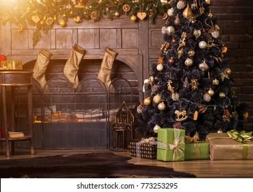 Beautiful holdiay decorated room