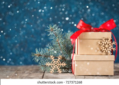 Beautiful holiday decorated background with christmas gift boxes ,fir. christmas holiday concept