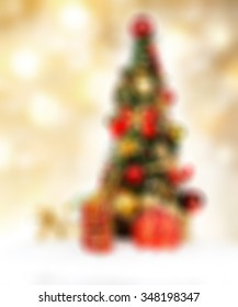 Beautiful holiday decorated. Christmas blurred background