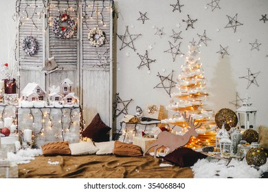 Beautiful holiday decorated room. Creative Christmas tree. new year. Christmas decorations.