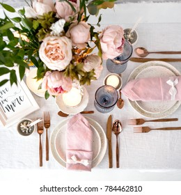 Beautiful holiday Easter table setting, close up