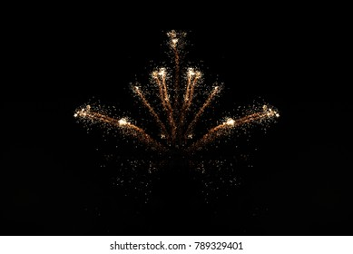 Beautiful  holiday fireworks in the dark sky