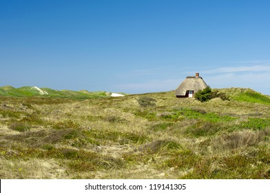 beautiful holiday home with thatched roof  in the dunes at the danish North Sea Coast, Denmark, Jutland,  Europe