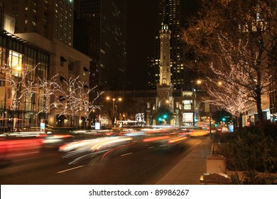 Beautiful Holiday Lights on Michigan Avenue in Chicago