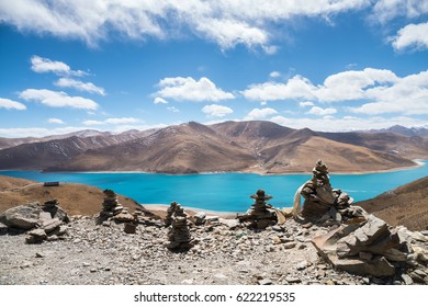 beautiful  holy yamdrok lake  ,marnyi stone as prospect, having a strong religious faith in tibet