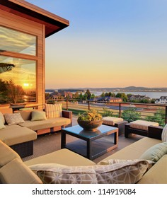 Beautiful Home Patio with View and Sunset Reflection
