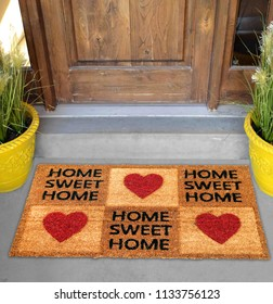 Beautiful Home sweet home peach color coir doormat with hearts Placed outside door