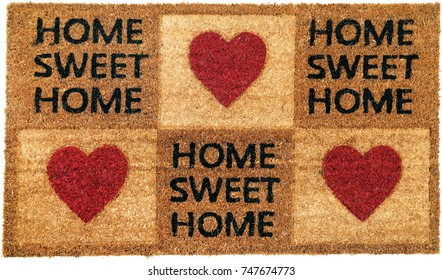 Beautiful Home sweet home peach color coir doormat with 3 hearts