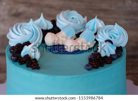Beautiful Homemade Cake With Blue Cream For The Ceremony Of Baptism Baby