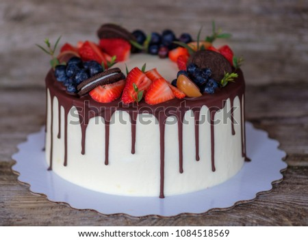 Beautiful Homemade Cake Cheese Cream Strawberries Stock Photo Edit