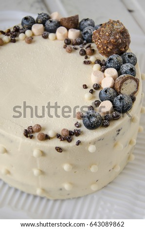 Beautiful Homemade Cake With Sweets And Blueberry