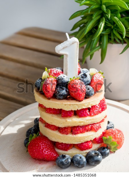 Brilliant Beautiful Homemade Diy Cake First Birthday Stock Photo Edit Now Funny Birthday Cards Online Overcheapnameinfo
