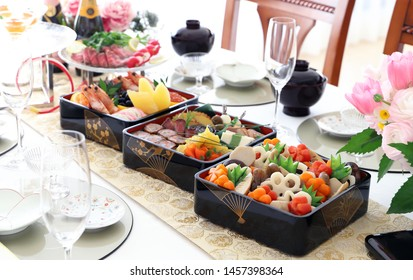 Beautiful homemade osechi,simmered chicken and vegetables for japanese new year cuisine