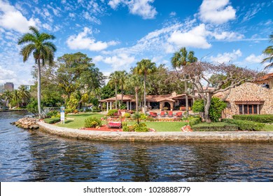Beautiful homes along city canals, Fort Lauderdale, FL.