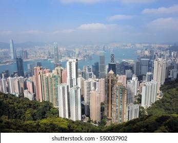 Beautiful Hong Kong city skyline in daytime from peak