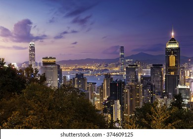 Beautiful HongKong cityscape at night
