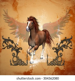 Beautiful horse with wings on the background